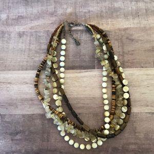 Silpada Wood,Quartz, Mother of Pearl necklace .